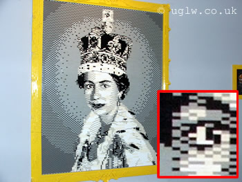 Lego mosaic of the Queen with inset eye detail at Lego Creation Centre, Legoland Windsor
