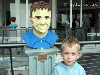 A Lego TV presenter Dec (from Ant and Dec) with an admirer at Legoland Windsor