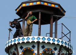 From the 2007 harbour show: Johnny Thunder with a baddie on top of the tower in the centre of the lake