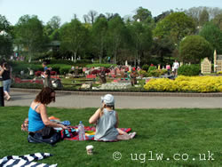 A family having a picnic at Miniland, Legoland Windsor
