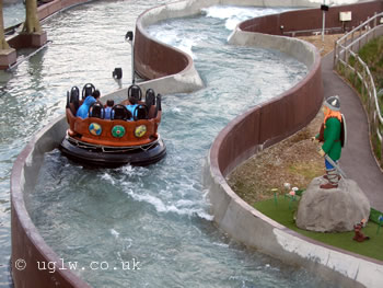 Riders shoot down the course at Vikings' River Splash at Legoland Windsor